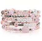 珍珠 人造水晶 合金珠手环 多层多圈款