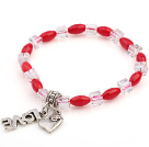 红珊瑚 人造水晶手链 配合金桃心 简约单层带坠弹力线款