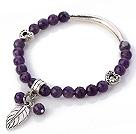 切面紫水晶手链 配藏银桃心 弯管 树叶