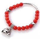 红珊瑚手链 配藏银桃心 弯管 钱袋