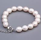 强光米形珠 珍珠手链 配桃心扣 长度可调节