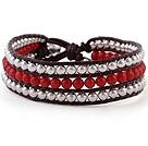 珊瑚 银色珠子 皮绳手链 三层款