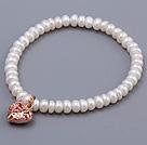 5-6mm 四面光珍珠手链 配玫瑰金色镂空桃心