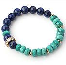新疆绿松石青石手链 配水钻珠铜珠 简约单层款