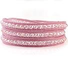 白AB人造水晶 皮绳手链 三层皮绳缠绕编织款
