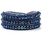 兰光色人造水晶 皮绳手链 缠绕式三圈款
