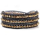 镀金色人造水晶 皮绳手链 缠绕式三圈款