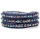 五彩色人造水晶 皮绳手链 缠绕式三圈款