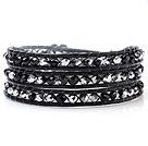 黑银相间色人造水晶 皮绳手链 缠绕式三圈款