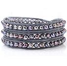 混色珍珠手链 三层皮绳编织缠绕款