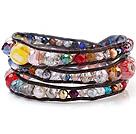 杂石 人造水晶 皮绳手链 三层皮绳编织缠绕款 颜色随机