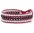 石榴石 银色珠子 绳皮手链 三层皮绳编织款