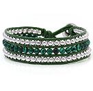 孔雀石 银色珠子 皮绳手链 三层皮绳编织款