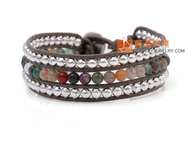印度玛瑙 银色珠子 皮绳手链 三层皮绳编织款