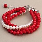 红珊瑚 白珍珠手链