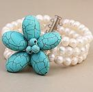 珍珠 松石花朵手链 三层编花款