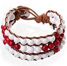 白瓷石 红血石手链 三层皮绳编织缠绕款
