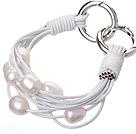 天然白色珍珠手链 配白色皮绳 多层皮绳款