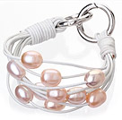 天然粉色珍珠手链 配白色皮绳  多层皮绳款