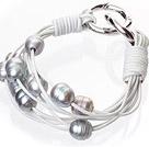 天然灰色珍珠手链 配白色皮绳 多层皮绳款