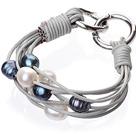 天然黑白混色珍珠手链 配灰色皮绳 多层皮绳款