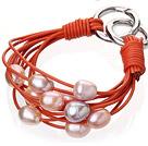 天然珍珠手链 配橘色皮绳 多层皮绳款