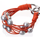 天然灰色珍珠手链 配橘色皮绳 多层皮绳款