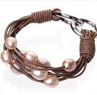 天然粉色珍珠手链 配棕色皮绳 多层皮绳款