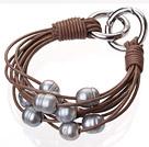 天然灰色珍珠手链 配棕色皮绳 多层皮绳款