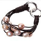 天然粉色珍珠手链 配深棕色皮绳 多层皮绳款
