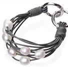 天然白色珍珠手链 配深灰色皮绳 多层皮绳款