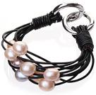 天然粉色珍珠手链 配黑色皮绳 多层皮绳款