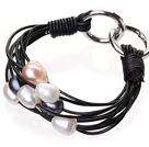 天然混色珍珠手链 配黑色皮绳 多层皮绳款