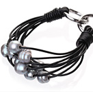 天然灰色珍珠手链 配黑色皮绳 多层皮绳款