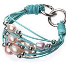 天然粉色珍珠 银色圆珠手链 配蓝色皮绳 多层皮绳款