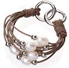 天然白色珍珠 银色圆珠手链 配棕色皮绳 多层皮绳款