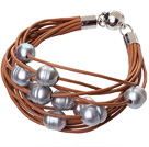 天然灰色珍珠手链 配棕色皮绳 磁力扣 多层皮绳款