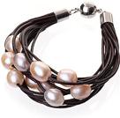 天然粉色珍珠手链 配深棕色皮绳 磁力扣 多层皮绳款