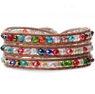 人造彩色水晶手链 缠绕式三圈款