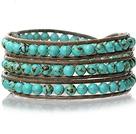 绿松石皮绳手链 三层皮绳编织缠绕款