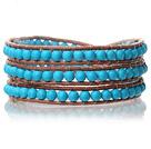 蓝松石皮绳手链 三层皮绳编织缠绕款