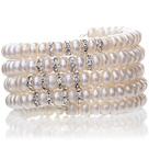 天然白色四面光珍珠手链 多层缠绕弹簧款
