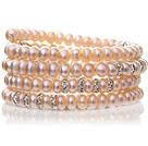 天然粉色四面光珍珠手链 多层缠绕弹簧款