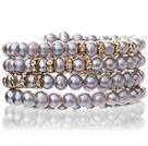 银灰色珍珠手链 多层缠绕弹簧款