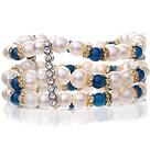 天然白色珍珠 蓝玛瑙弹力绳手链 多层弹力绳款