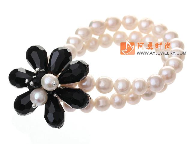 天然白色珍珠 水晶花朵手链 双层编花款
