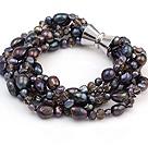 天然黑色珍珠 水晶手链 多股扭扭款 配磁力扣