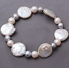 天然大纽扣珍珠手链 单层简约串珠款
