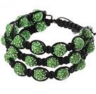绿色软陶水钻球手链 多层编织款