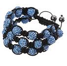 蓝色软陶水钻球手链 多层编织款